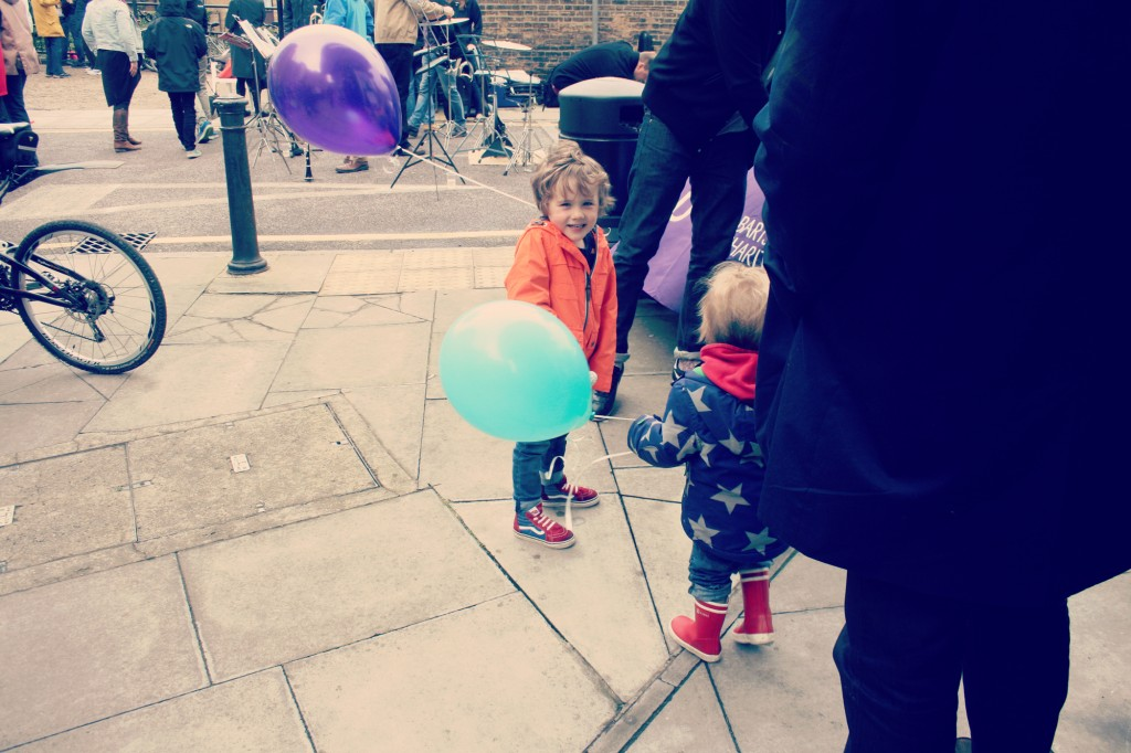 Enjoying the balloons..